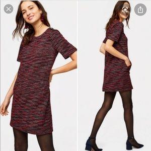 Loft Red tweed pocketed shift dress